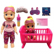 Brinquedo Boneca Little Dolls Brincando De Pijama Divertoys 8030