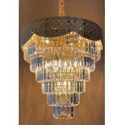 Lustre Ouro Titanium de Cristal Transparente 18xE14
