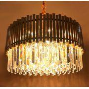 Lustre Redondo Ouro Titanium de Cristal Transparente 12xE14