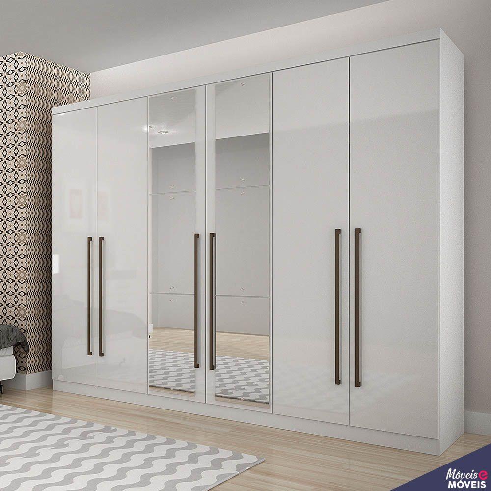 Guarda-roupa Bari  6 Gavetas Com Espelho - Móveis Novo Horizonte