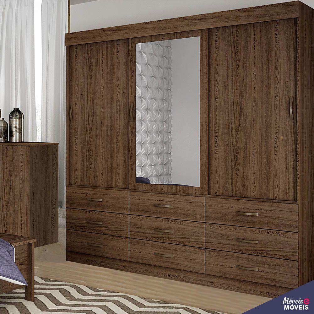 Guarda-roupa - Turim - 03 portas de Deslizante - Com Espelho - Bianchi Móveis