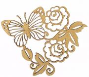 Aplique Borboleta Rosas em MDF 10x12cm - Palácio da Arte