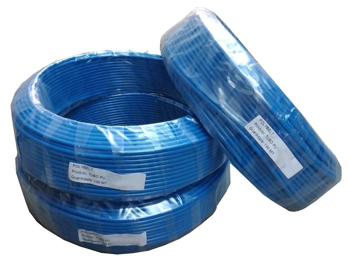Mangueira Pu 10 mm x 06 mm  Tubo Flexível (poliuretano) 100 Metros Azul