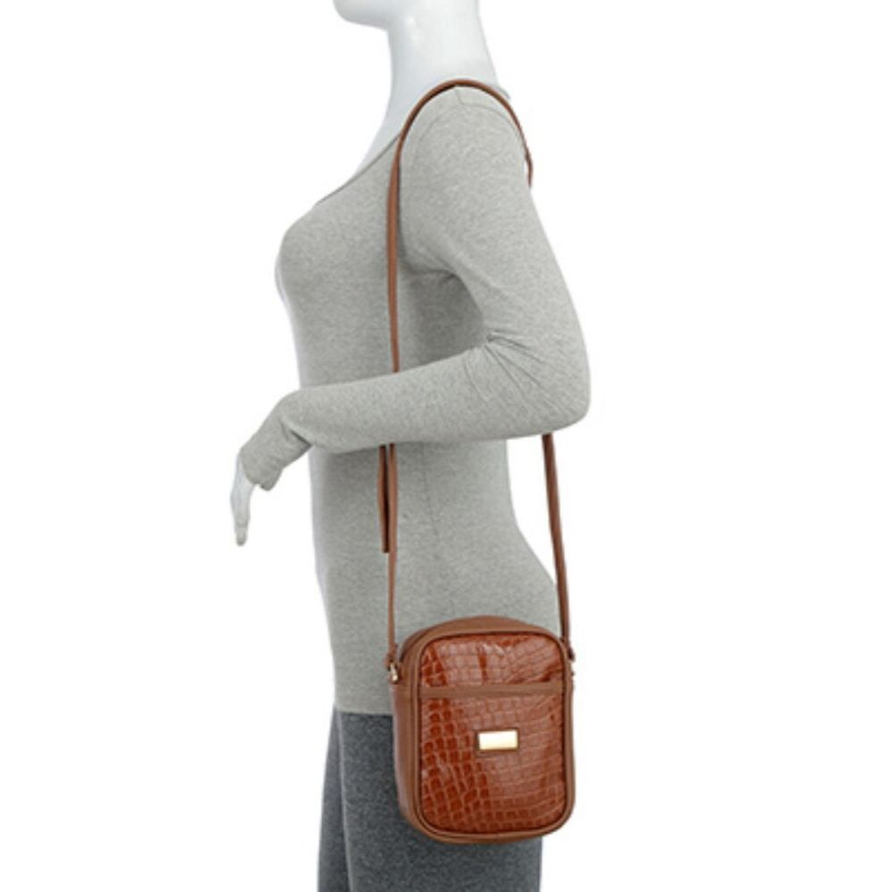 Bolsa Transversal Shoulder Bag Verniz Croco Caramelo