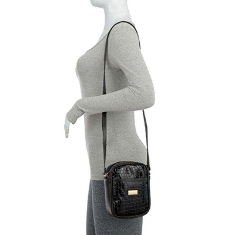 Bolsa Transversal Shoulder Bag Verniz Croco Preto