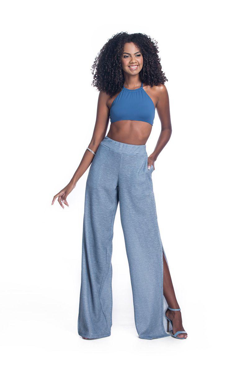 Calça Pantalona Fendas Azul Petróleo