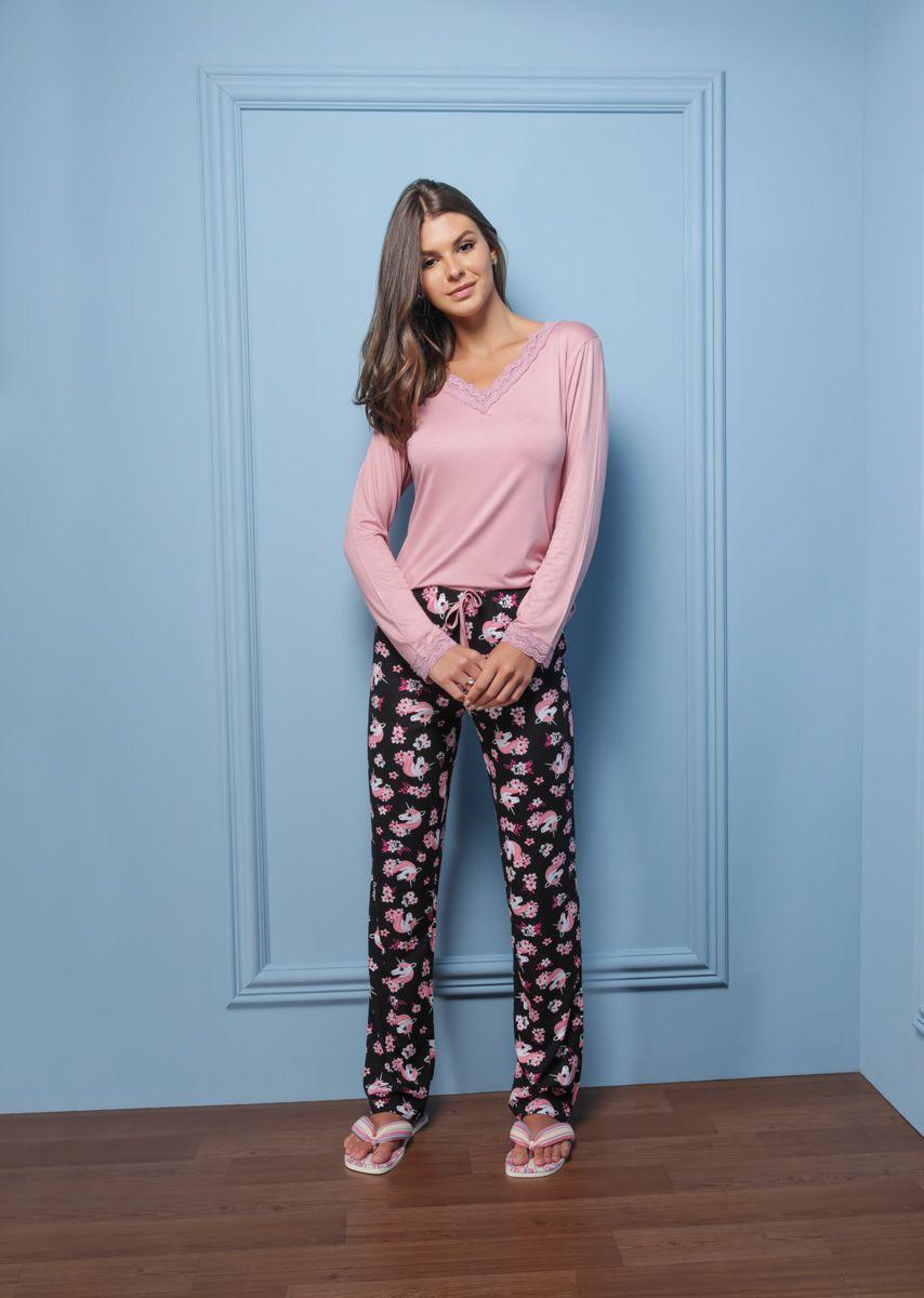Pijama Longo Adulto Unicórnio