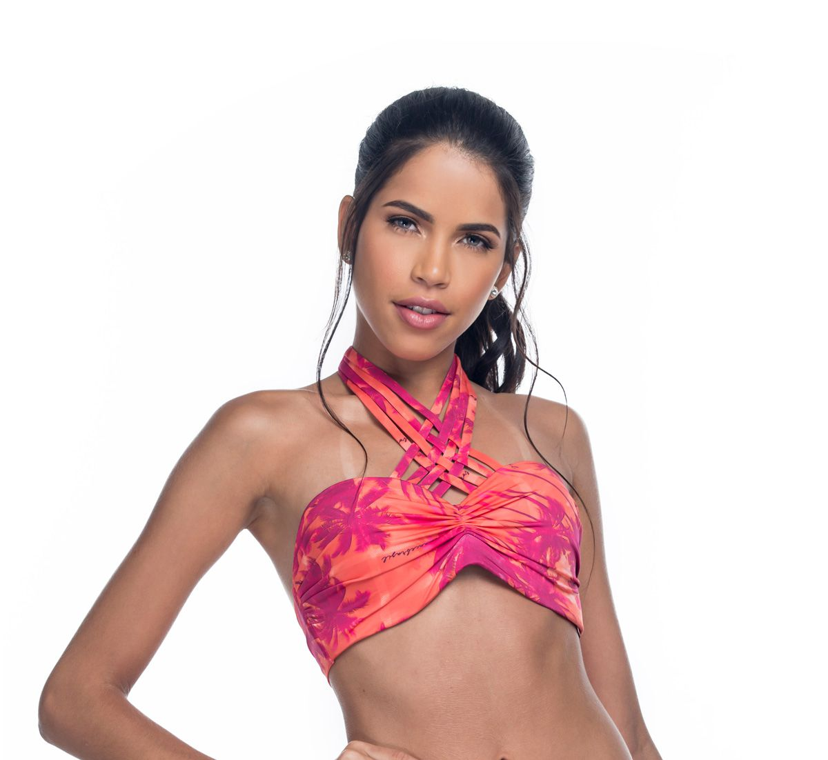 Top Bojo Inteiro Strappy Tropical sunset