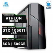 Computador Gamer AMD Athlon 3000G, HD 500GB, 8GB DDR4, 420W, GTX 1050Ti 4GB OC