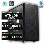 Computador Gamer AMD Athlon 3000G, SSD 240GB, 8GB DDR4, 420W, GTX 1050Ti 4GB OC