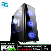 Computador Gamer AMD Ryzen 5 3600, HD 1TB, 8GB DDR4, 500W, GTX 1660Ti