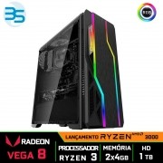 Computador Gamer Ryzen 3, 8GB DDR4, SSD 240GB, 400W