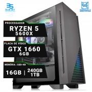 Computador Workstation AMD Ryzen 5 5600X, SSD 240GB, HD 1TB, 16GB DDR4, 500W, GTX 1660 6GB