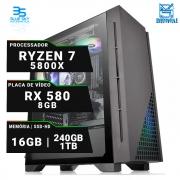 Computador Workstation AMD Ryzen 7 5800X, SSD 240GB, HD 1TB, 16GB DDR4, 500W, RX 580 8GB