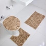 Jogo De Tapete Banheiro 3 Peças Antiderrapante Macarrão