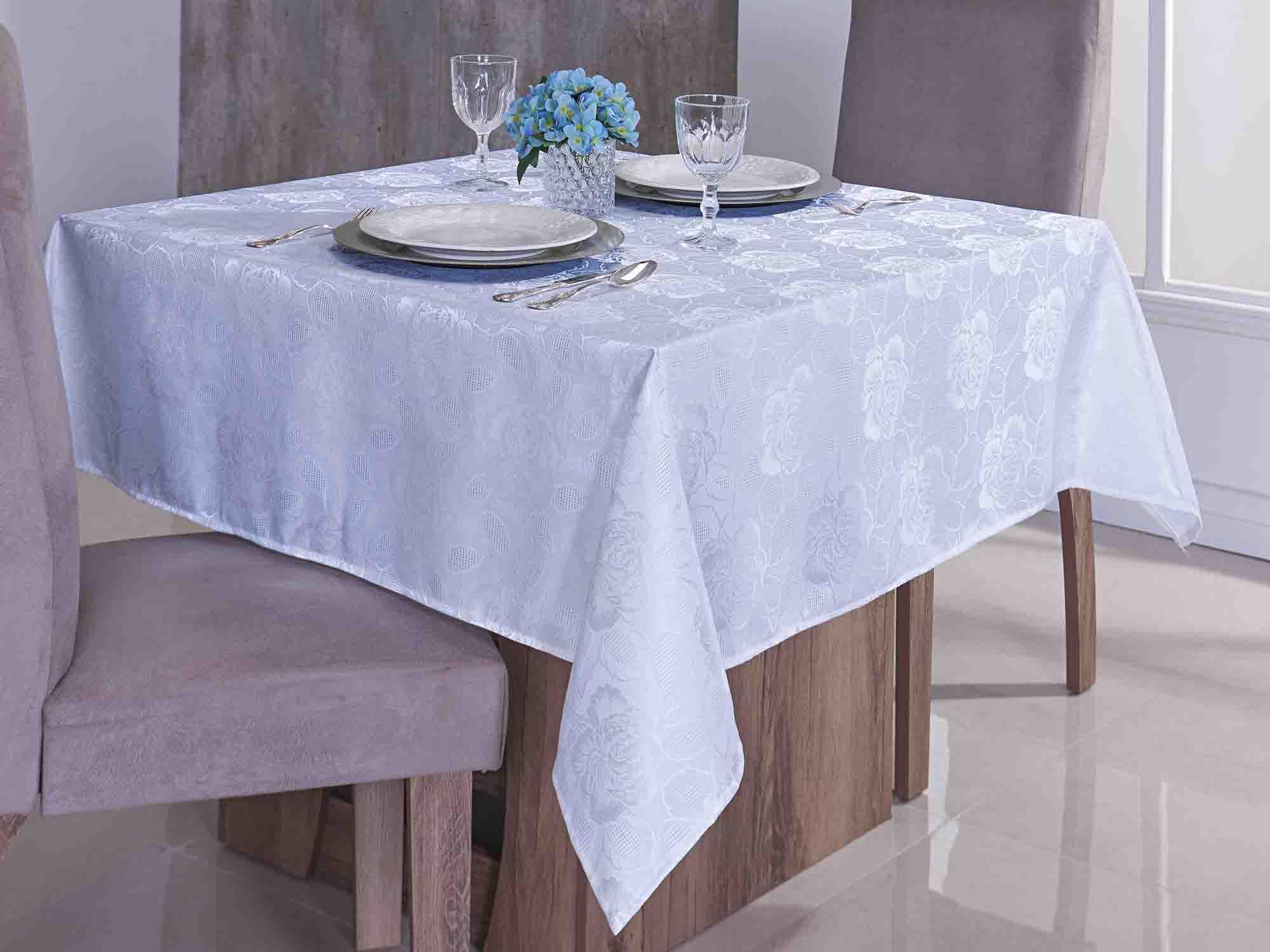 Toalha De Mesa Quadrada Jacquard Glamour - 4 Lugares