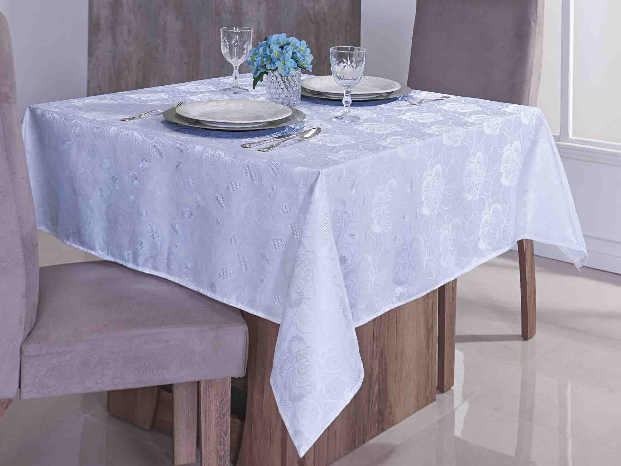Toalha De Mesa Retangular Glamour Jacquard  - 8 Lugares