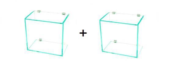 02 Nichos em Vidro Incolor 6mm com Suportes Quadrados - Aquabox  - 20cmx20cmx12cm