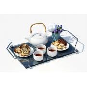 Bandeja Aquabox para café da manhã em vidro refletivo cinza 8mm temperado 40cmx26cm