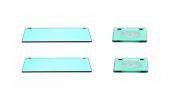 Kit contendo 02 Portas Shampoos retos em vidro verde 8mm + 02 Saboneteiras em vidro verde 8mm