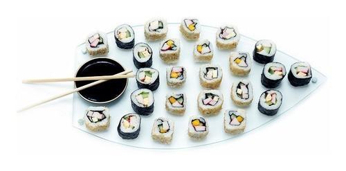 Barca Sushi em Vidro Incolor 6mm Temperado, medidas 42cm x 24cm, com pés em alumínio. Acompanha Nozoku Maru.