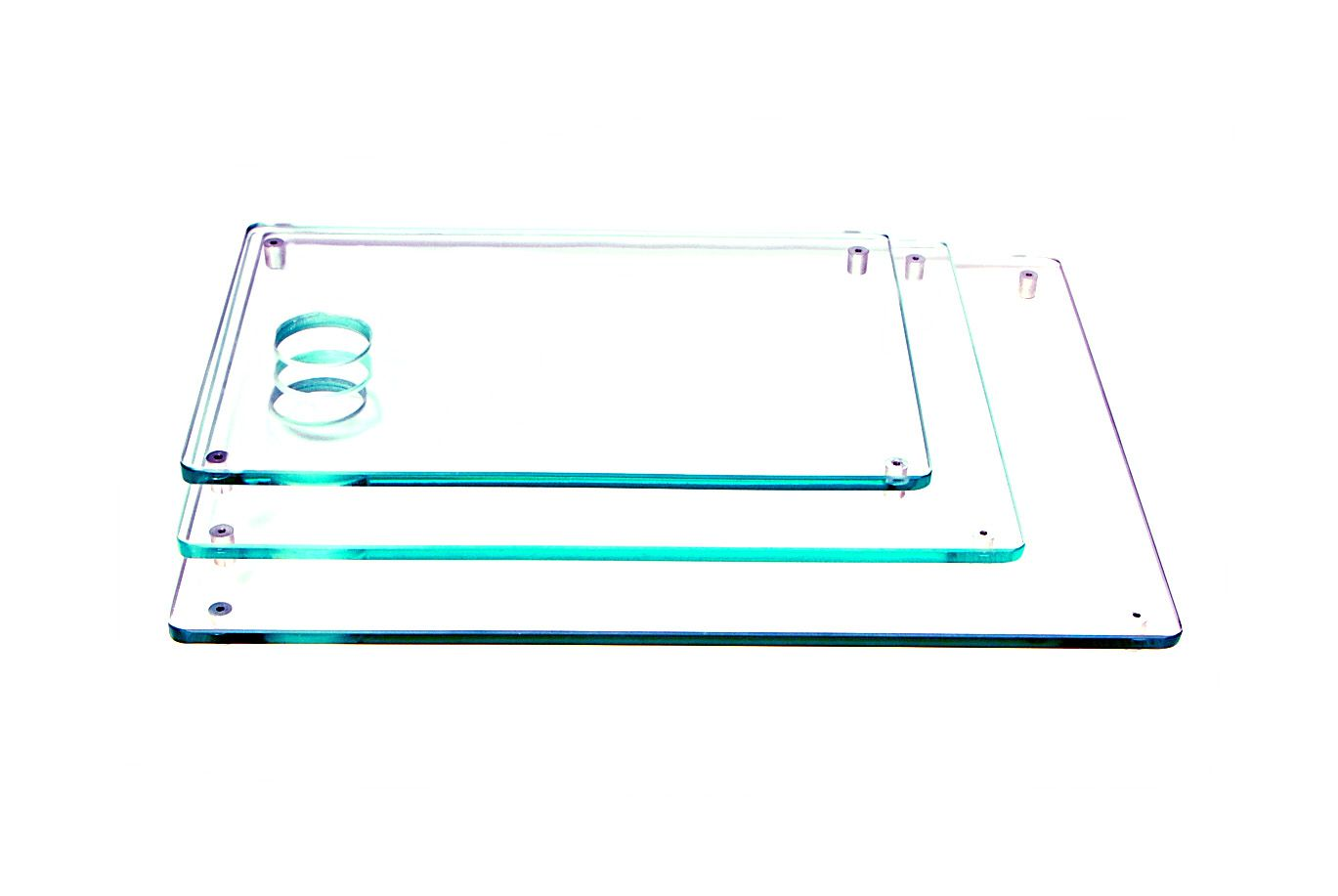 Jogo de 3 tábuas de carne retangulares incolor 8mm temperado 20x30cm 25x35cm e 30x40cm Aquabox