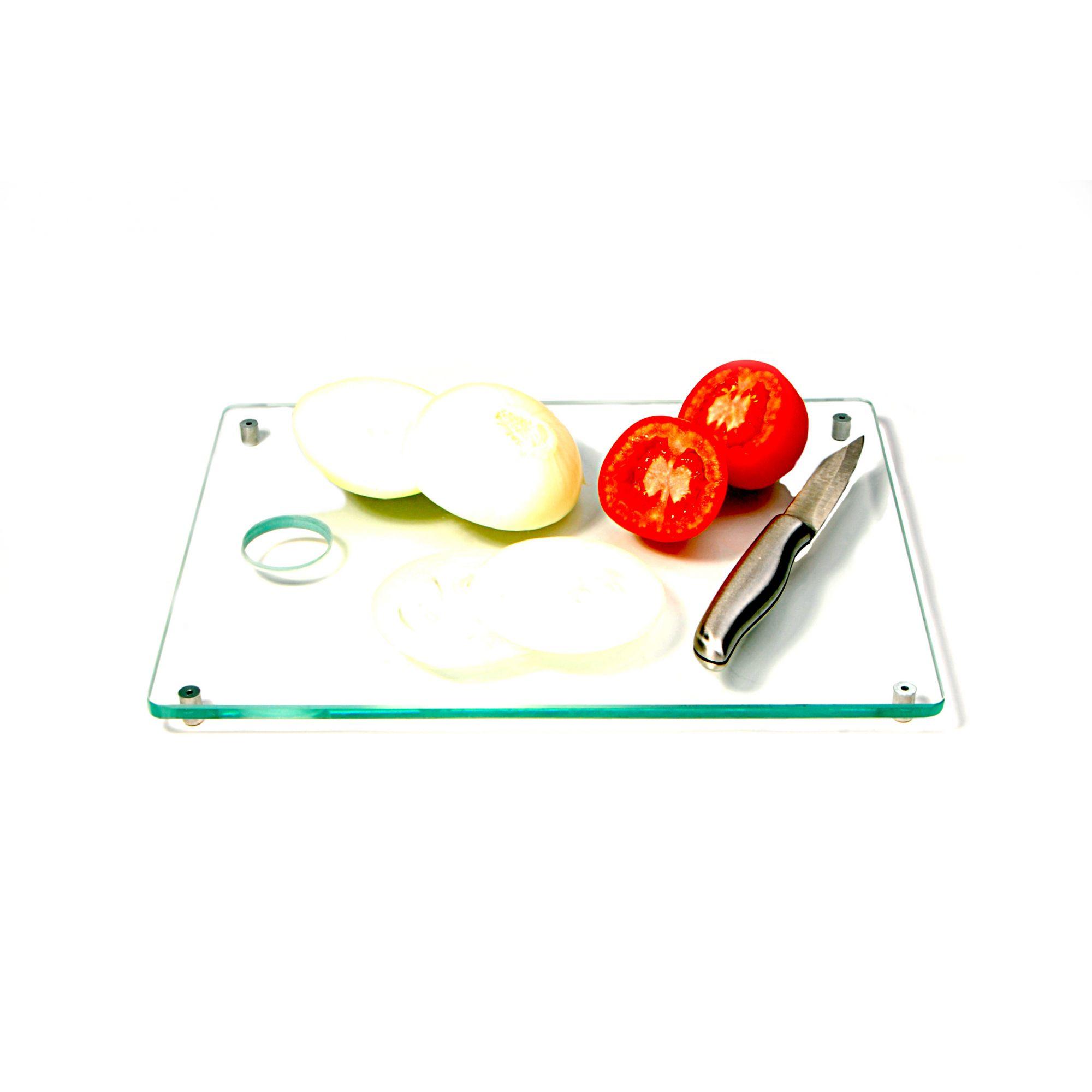 Jogo com 3 tábuas de carne retangulares em vidro incolor 8mm temperado 20x30cm 25x35cm e 30x40cm Aquabox