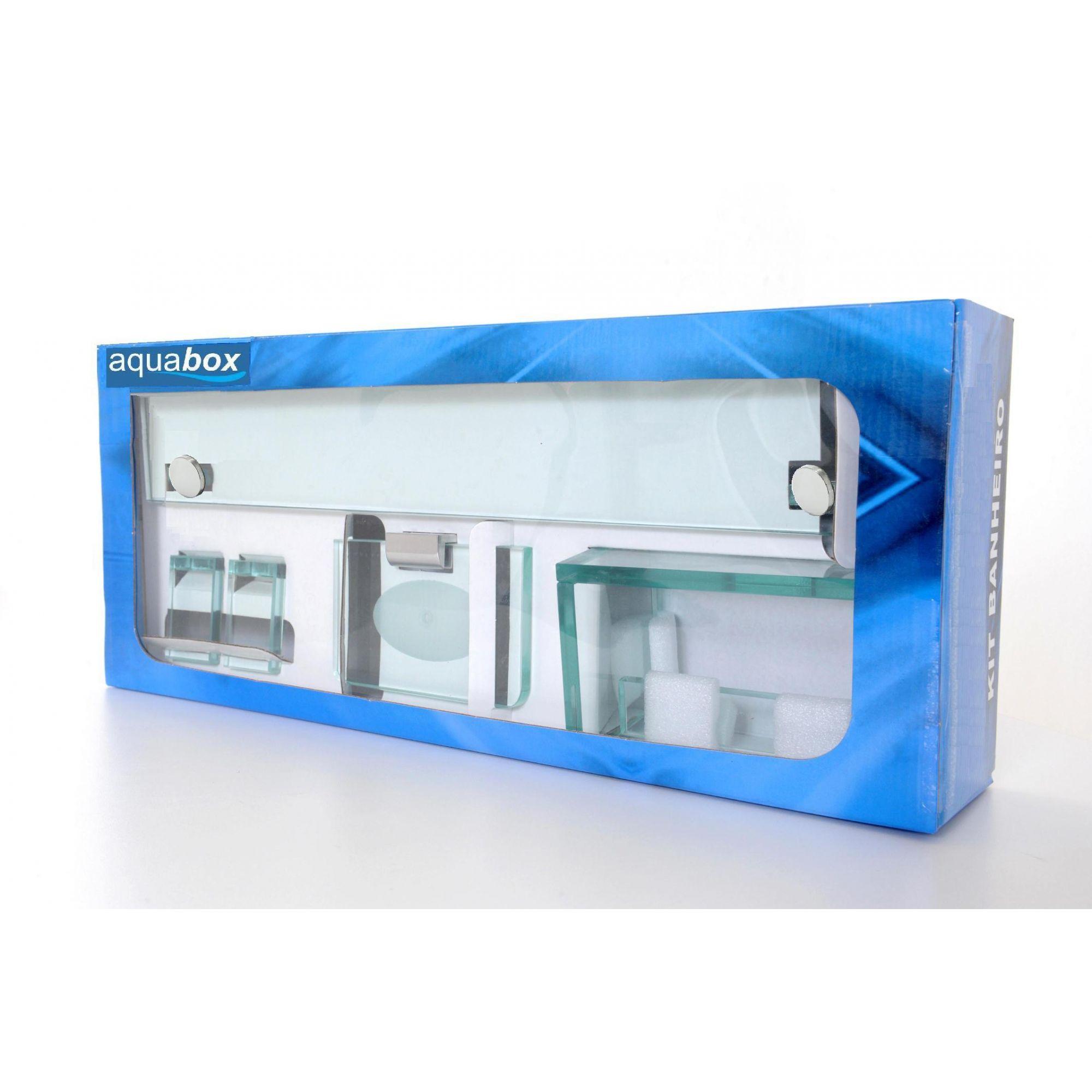 Kit de Banheiro em Vidro Incolor 10mm Lapidado - Aquabox