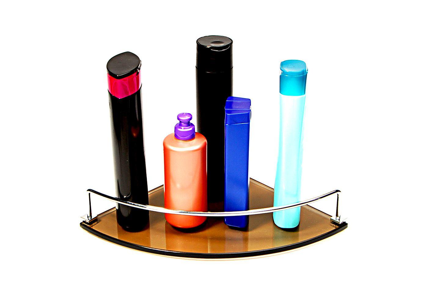 Porta Shampoo Canto Curvo em Vidro Bronze Lapidado - Aquabox  - 25cmx25cmx8mm