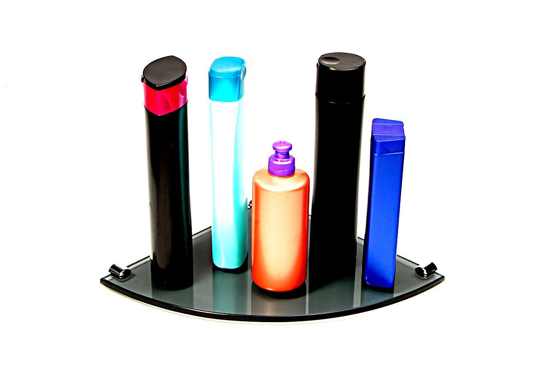 Porta Shampoo Canto Curvo em Vidro Fumê Lapidado - Aquabox  - 25cmx25cmx8mm