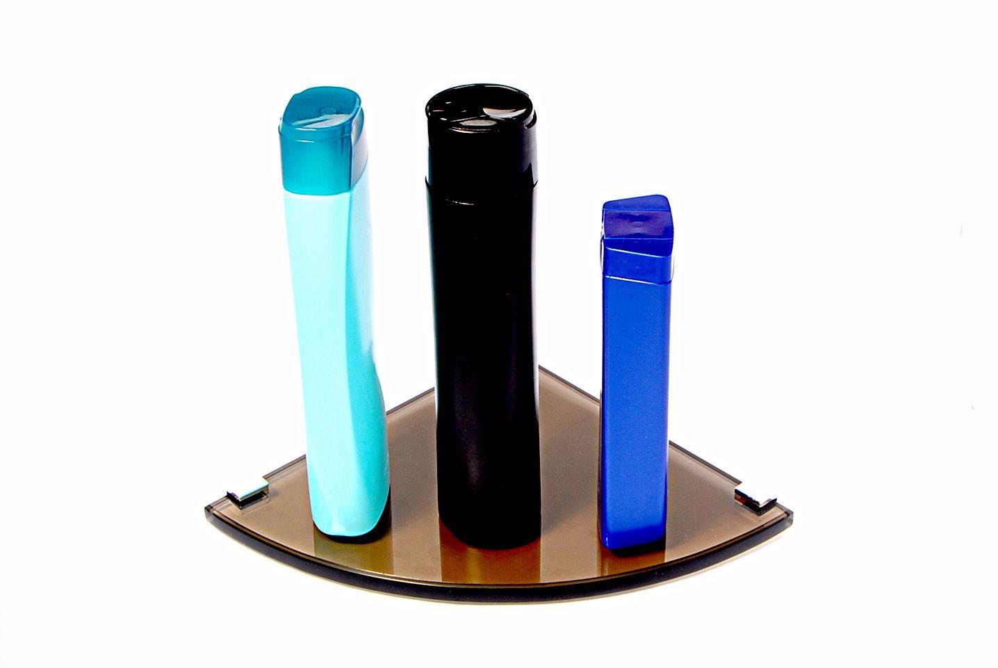 Porta Shampoo Canto Curvo em Vidro Bronze Lapidado - Aquabox  - 20cmx20cmx10mm