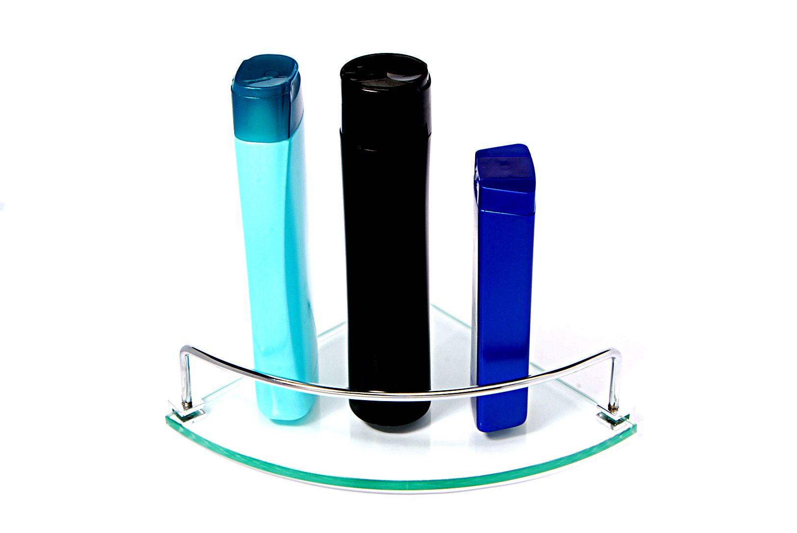 Porta Shampoo Canto Curvo em Vidro Incolor Lapidado - Aquabox  - 20cmx20cmx8mm