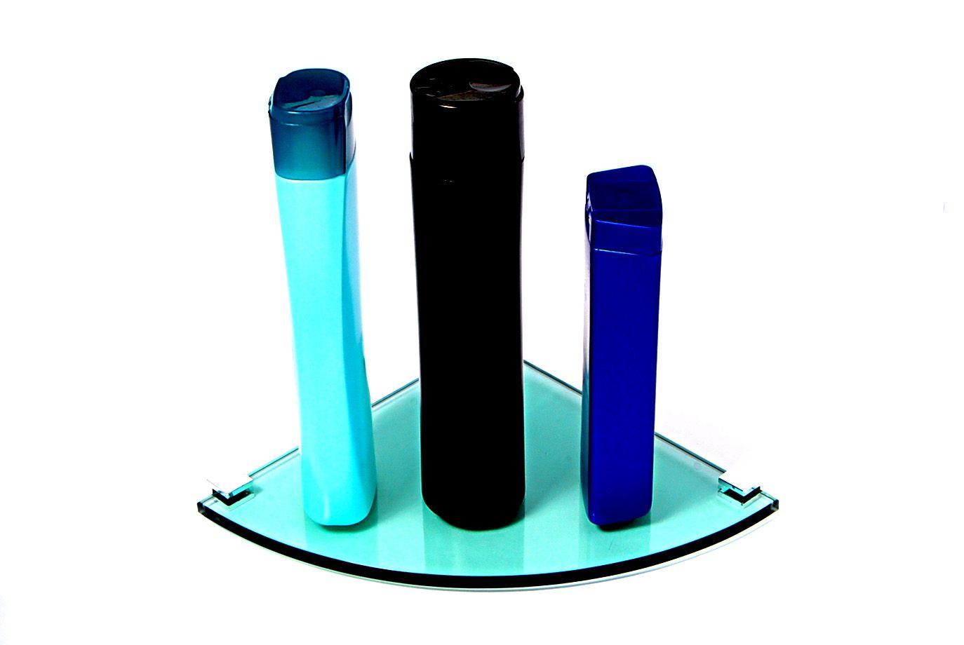 Porta Shampoo Canto Curvo em Vidro Verde Lapidado - Aquabox  - 20cmx20cmx8mm