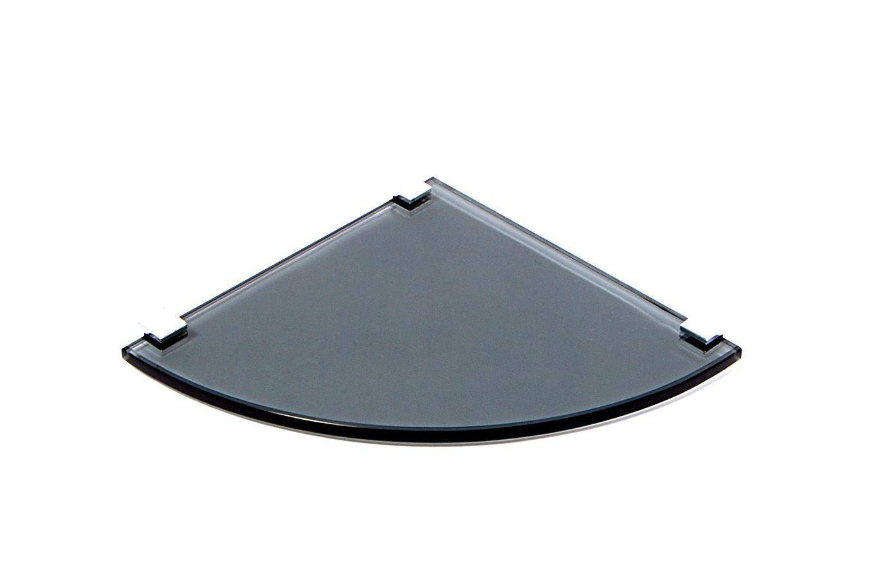 Porta Shampoo Canto Curvo em Vidro Fumê Lapidado - Aquabox  - 20cmx20cmx8mm