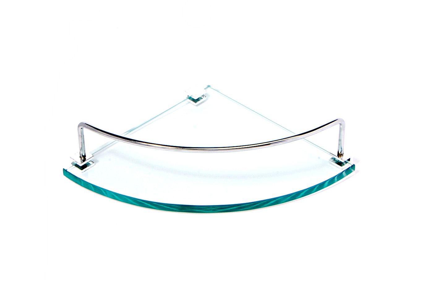 Porta Shampoo Canto Curvo em Vidro Incolor Lapidado - Aquabox  - 20cmx20cmx10mm