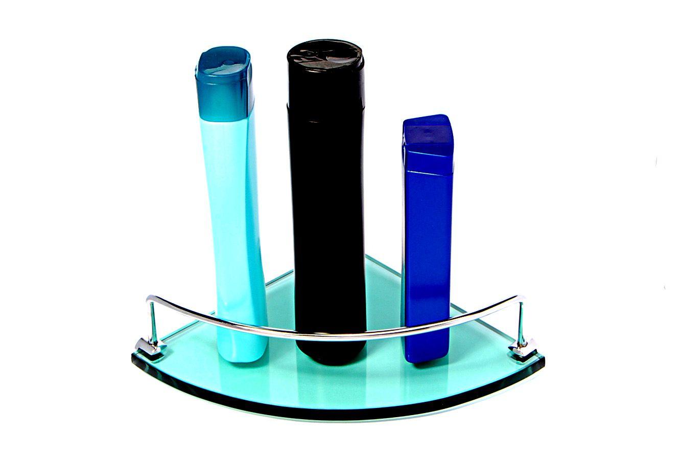 Porta Shampoo Canto Curvo em Vidro Verde 10mm Lapidado - Aquabox  - 20cmx20cmx10mm
