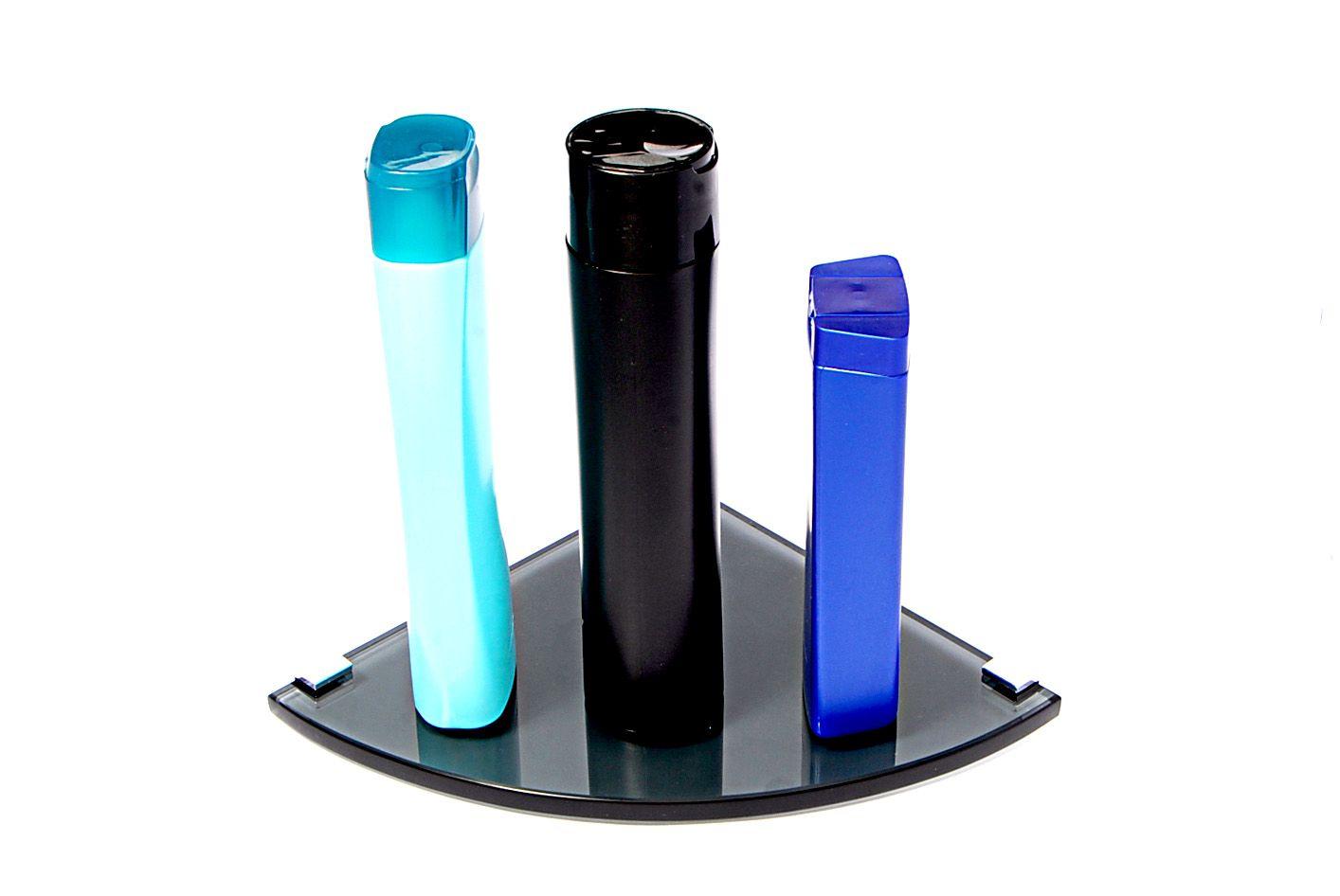 Porta Shampoo de Canto Curvo em Vidro Fumê Lapidado - Aquabox  - 20cmx20cmx10mm