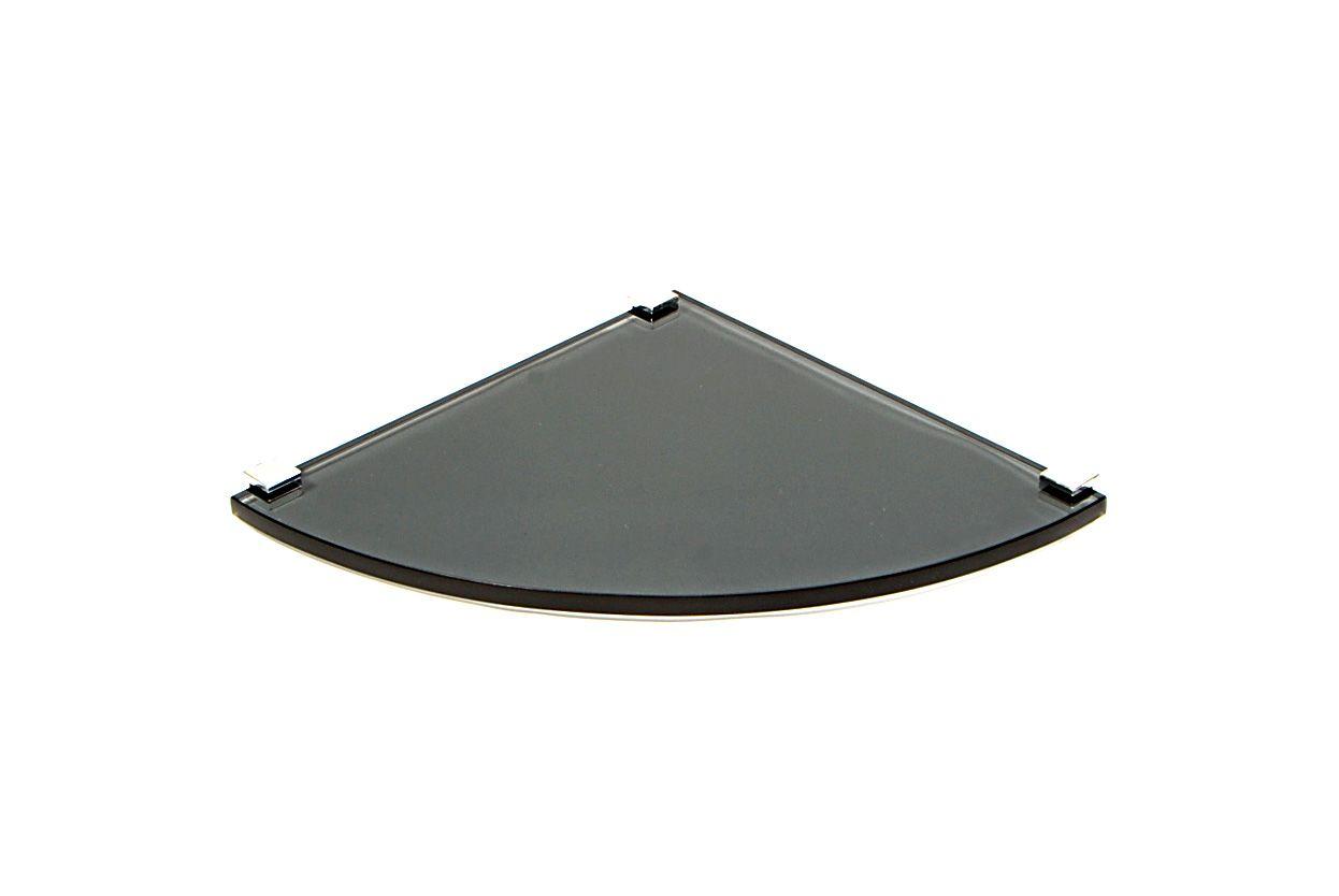Porta Shampoo Canto Curvo em Vidro Fumê Lapidado - Aquabox  - 25cmx25cmx10mm