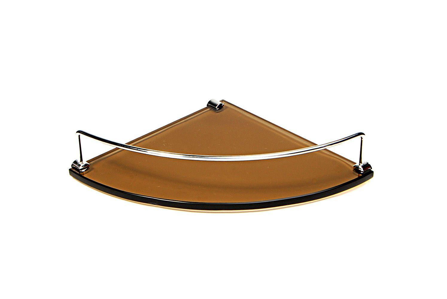 Porta Shampoo de Canto Curvo em Vidro Bronze Lapidado - Aquabox  - 25cmx25cmx10mm