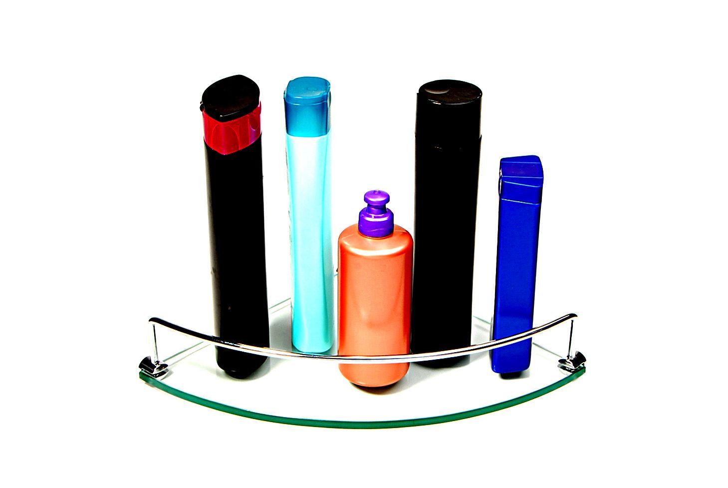 Porta Shampoo Canto Curvo em Vidro Incolor Lapidado - Aquabox  - 25cmx25cmx8mm