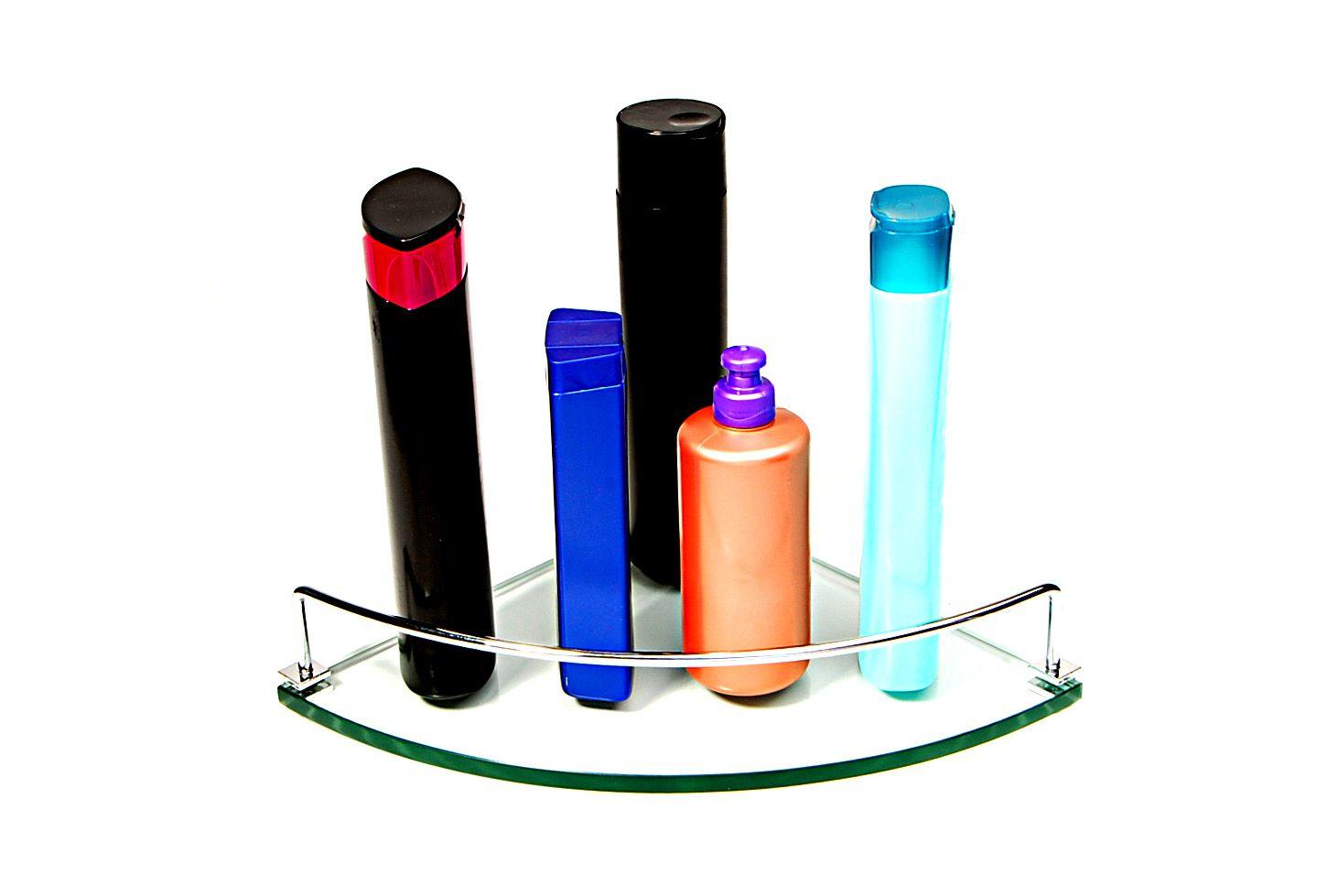 Porta Shampoo Canto Curvo em Vidro Incolor Lapidado - Aquabox  - 25cmx25cmx10mm
