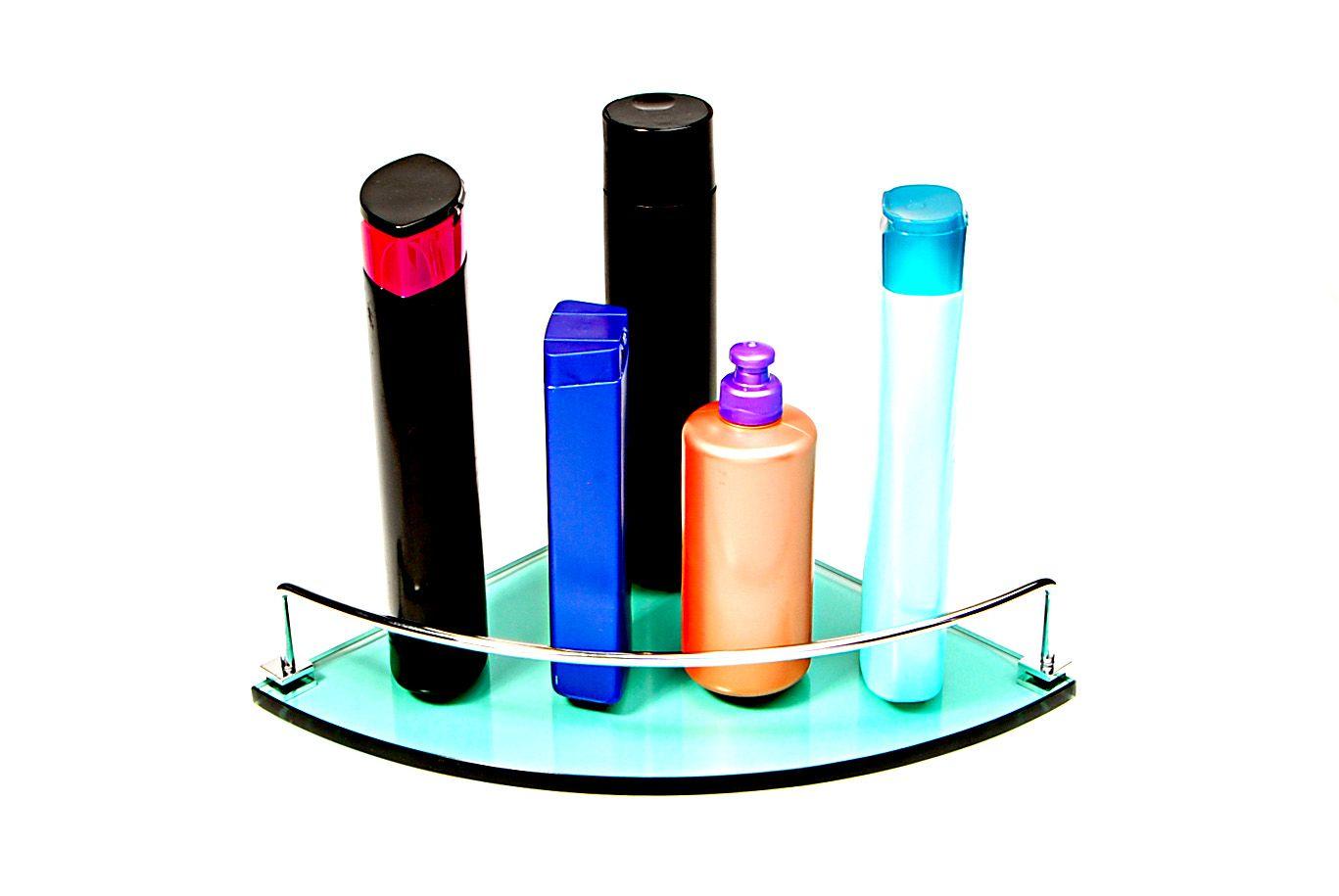 Porta Shampoo Canto Curvo em Vidro Verde Lapidado - Aquabox  - 25cmx25cmx10mm
