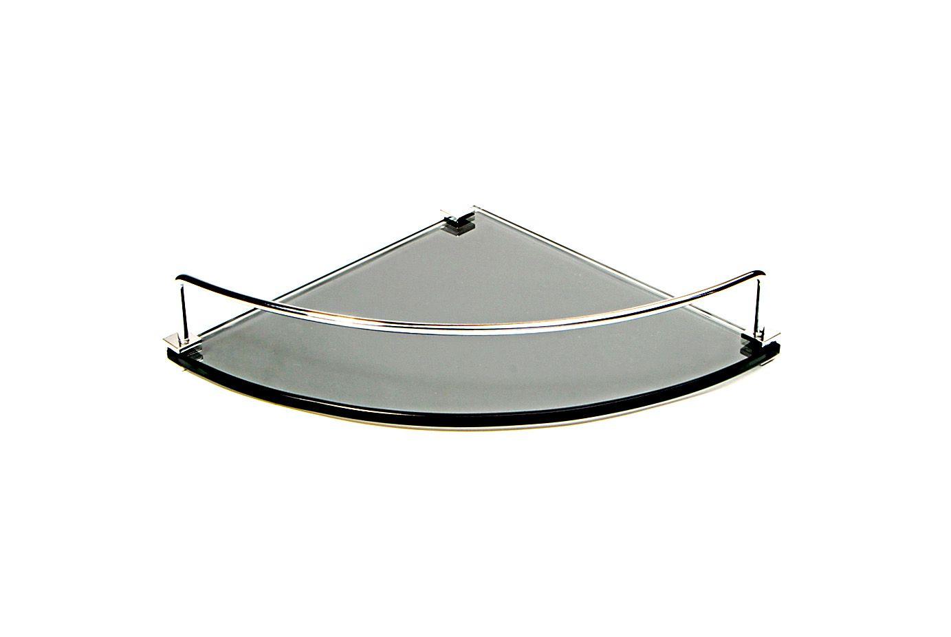 Porta Shampoo Canto Curvo em Vidro Refletivo Lapidado - Aquabox  - 25cmx25cmx8mm