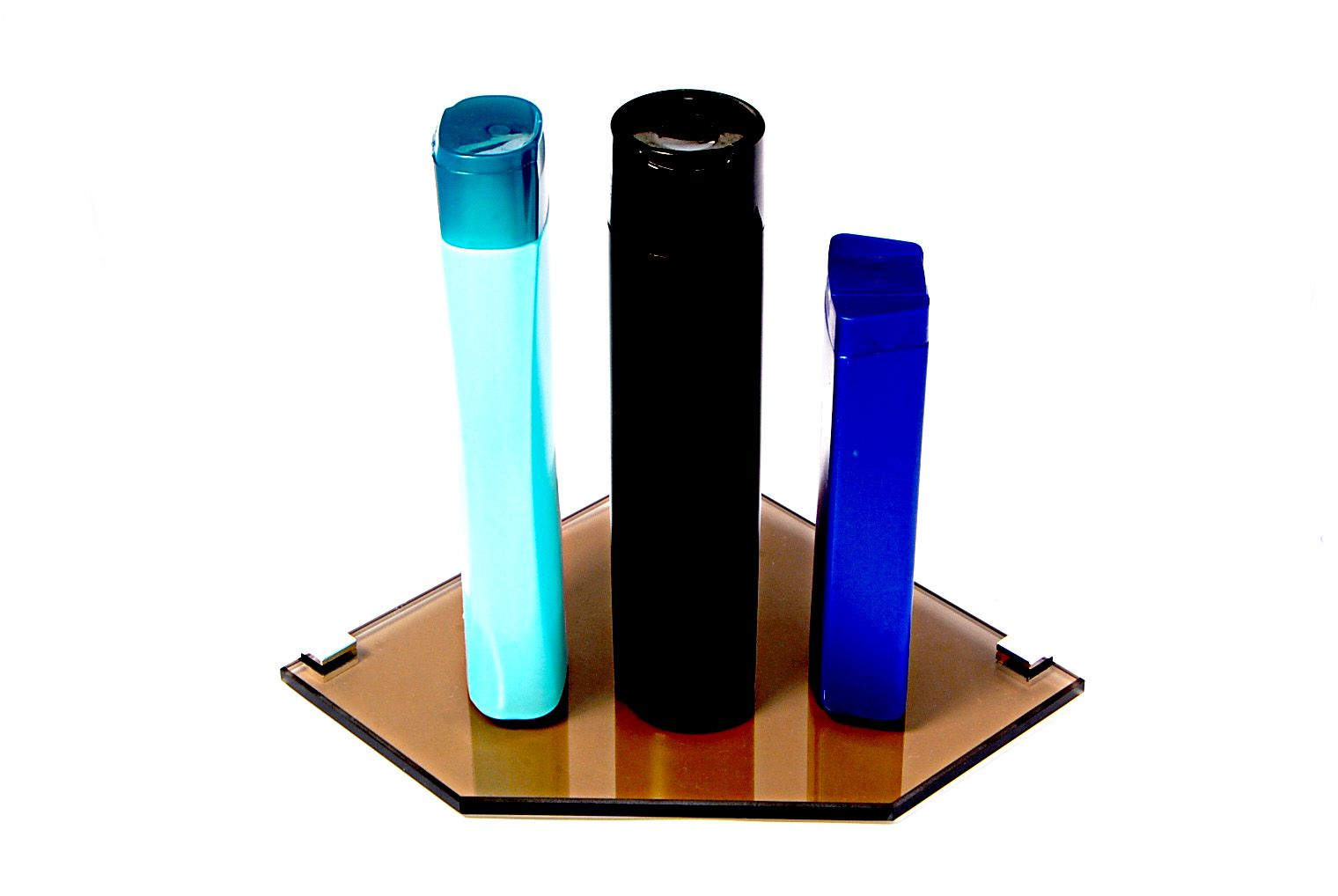 Porta Shampoo Canto Reto em Vidro Bronze Lapidado - Aquabox  - 20cmx20cmx8mm