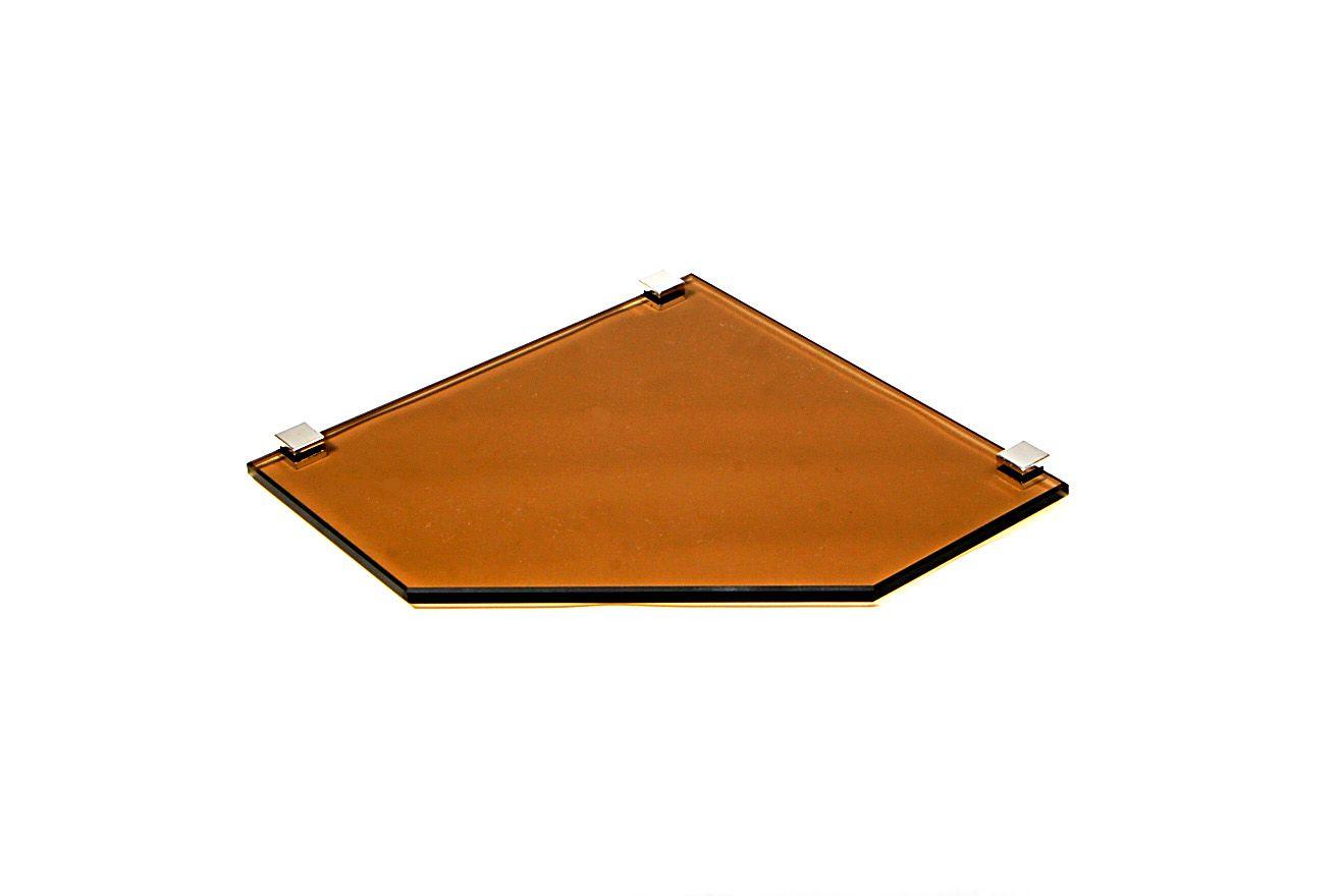 Porta Shampoo Canto Reto em Vidro Bronze Lapidado - Aquabox  - 25cmx25cmx8mm