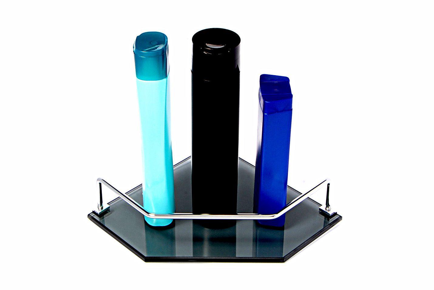 Porta Shampoo Canto Reto em Vidro Fumê Lapidado - Aquabox  - 20cmx20cmx8mm