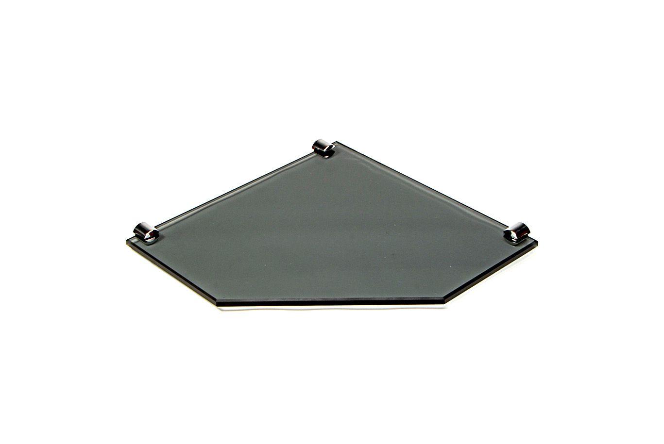 Porta Shampoo de Canto Reto em Vidro Fumê Lapidado - Aquabox  - 25cmx25cmx10mm