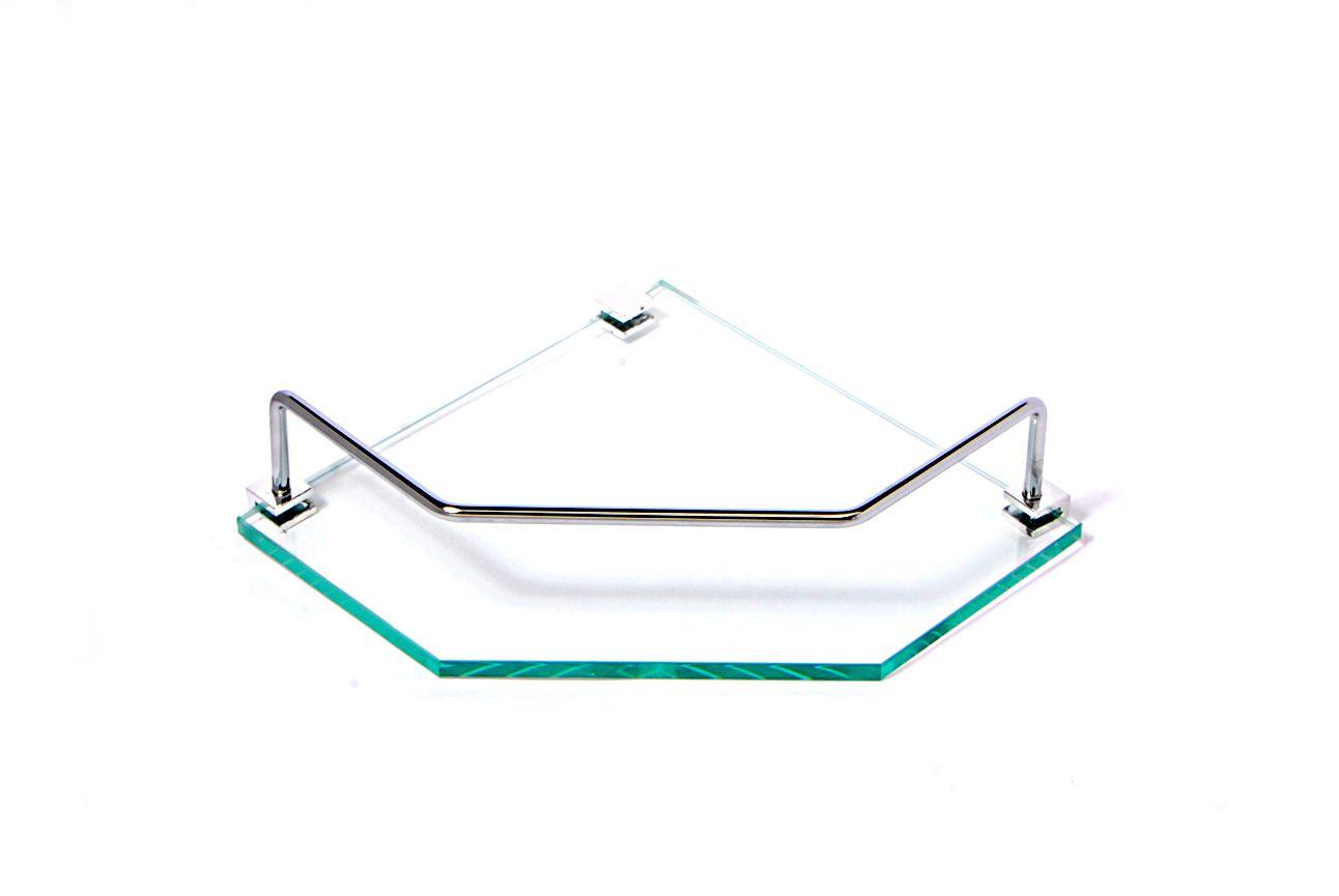 Porta Shampoo de Canto Reto em Vidro Incolor Lapidado - Aquabox  - 20cmx20cmx8mm