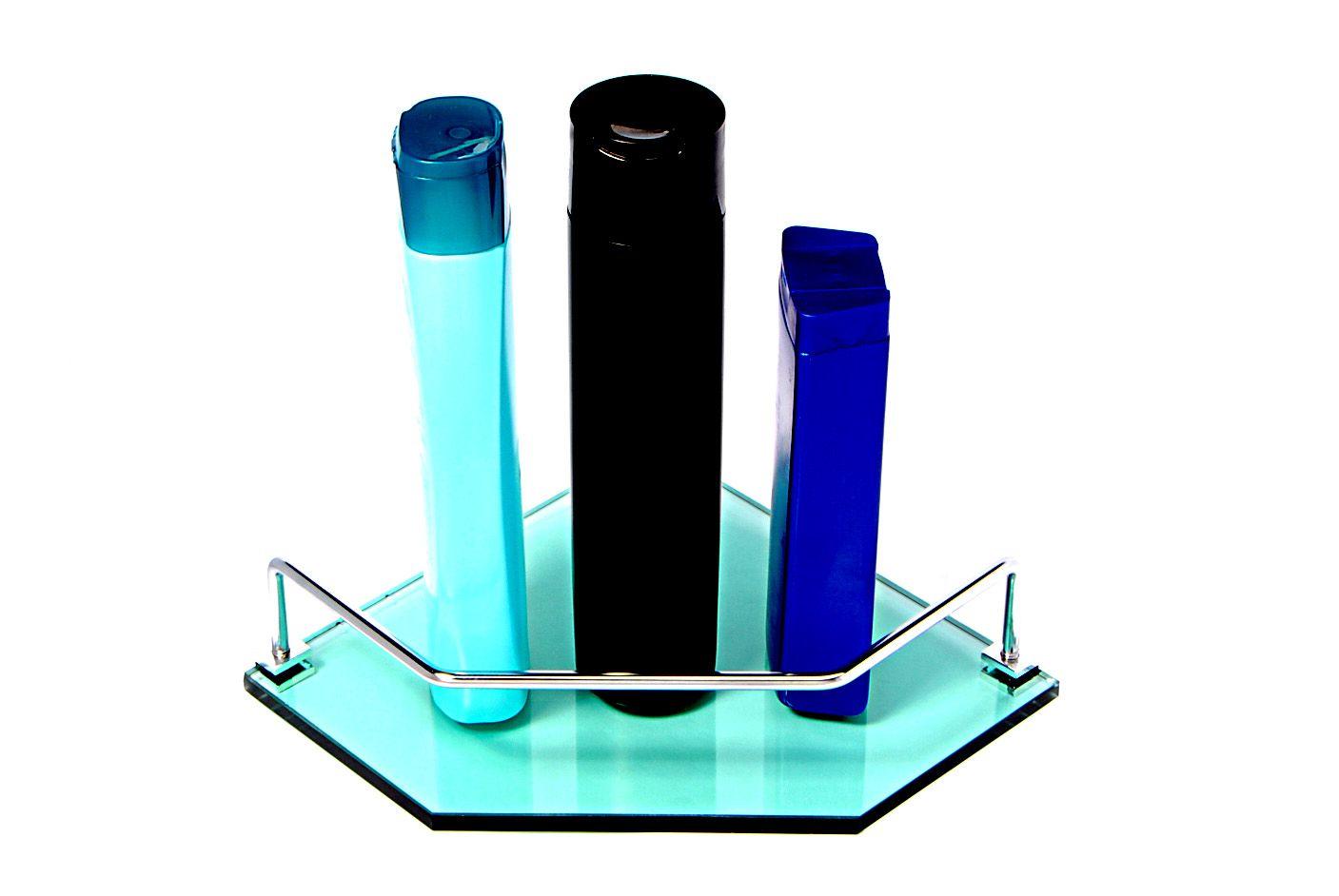 Porta Shampoo Canto Reto em Vidro Verde Lapidado - Aquabox  - 20cmx20cmx8mm