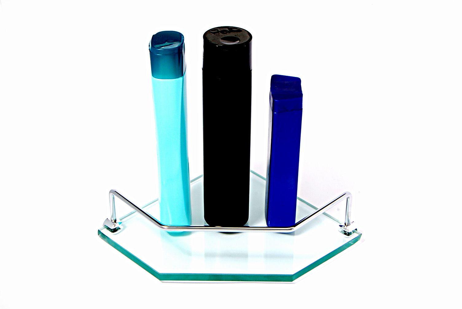 Porta Shampoo Canto Reto em Vidro Incolor Lapidado - Aquabox  - 20cmx20cmx10mm